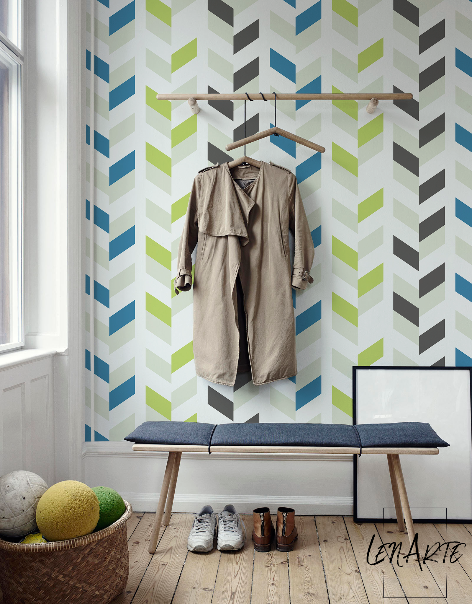 Blue mood to create a statement wall you sometimes need only one color and simply use its shades wisely that is the case with chevron blue peel and stick